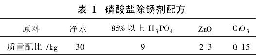 表1 磷酸盐除锈剂配方